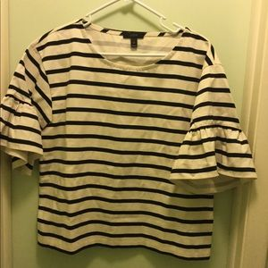J. Crew ruffled striped shirt size medium